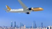787; Gulf Air; Air to Air over Abu Dhabi; Gold white and Blue Livery