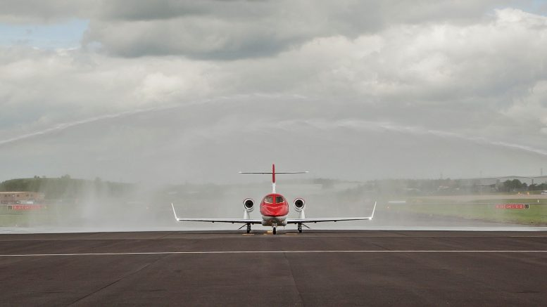 HondaJet arrives at Marshalls Birmingham FBO.