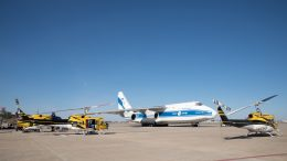 Getting ready to load the helicopters onto Volga-Dnepr's An-124-100