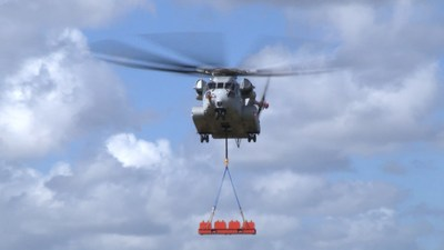 The Sikorsky CH-53K helicopter achieves a 36,000-pound lift for the first time at Sikorsky Development Flight Center in West Palm Beach, Florida, on Feb. 10, 2018. Image courtesy Sikorsky, a Lockheed Martin Company. (PRNewsfoto/Lockheed Martin)