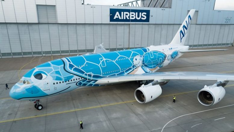 First Ana A380 Rolls Out Of Airbus Paintshop With Turtle